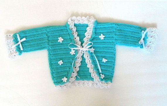 ON SALE: Turquoise cardigan sweater for baby by PrincessOfCrochet