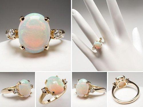 Vintage opal engagement rings sets