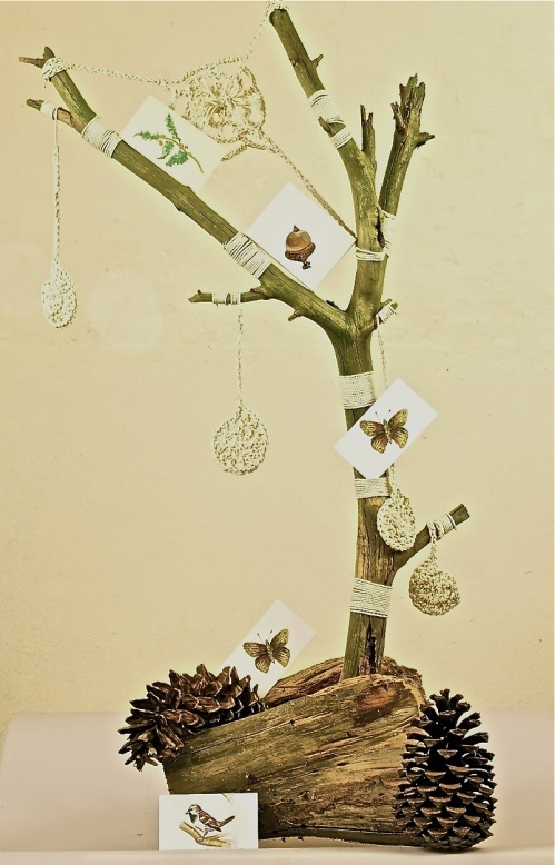 Crafty Zen tree with business cards and crochet flowers and spiderweb at www.mindfuldrawing.com
