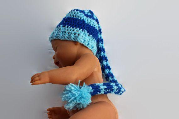 Newborn photo prop striped beanie with long by MadeforYOUbyFi