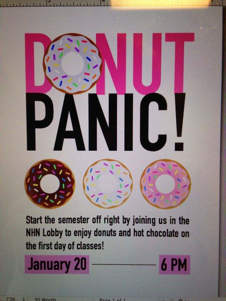 Donut Panic Program! Super successful on the first day of class! #RA
