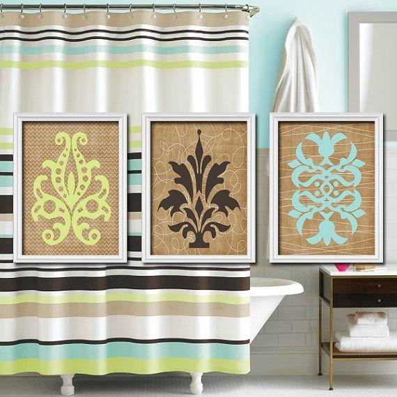Bathroom Wall Decor Aqua : Damask bathroom wall art canvas or prints aqua