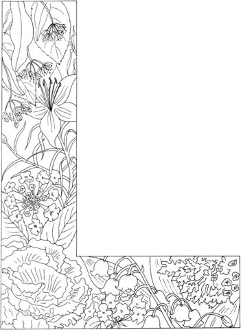 Floral Letters Coloring : Floral letter coloring book adults vector stock 414755515
