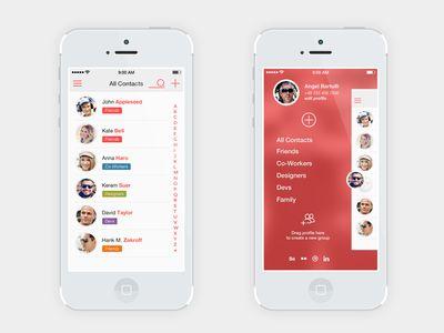 Contact list menu iOS7 - Angel Bartolli