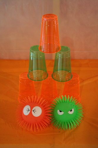 Use these squishy monster balls from dollar store for the previous monster can game instead of bean bags or ball