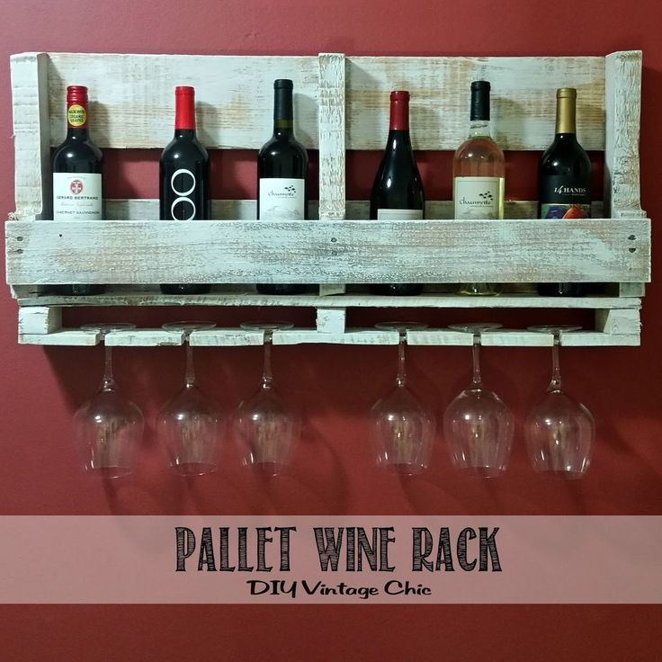 Could be adjusted for more sophisticated tastes.  Sanded and painted?  Cover Screws in front.  Nice idea. Pallet+Wine+Rack