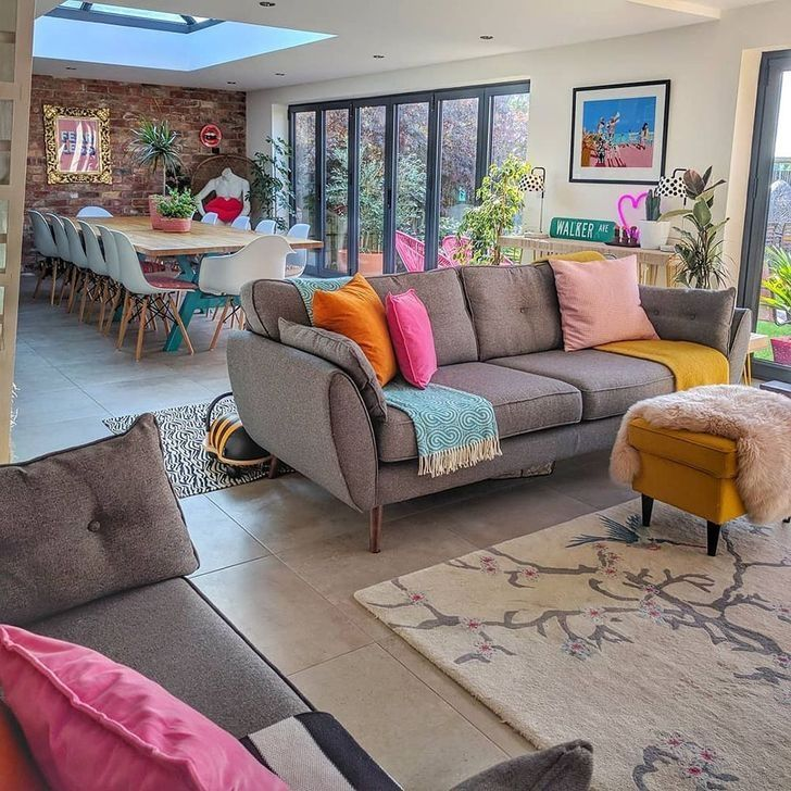 30 Cute Colorful Living Room Ideas For This Summer Colourful Living Room Open Plan Living Room Open Plan Kitchen Living Room
