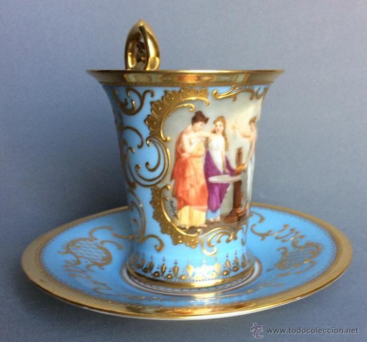 TAZA DE PORCELANA VIENESA.REPRESENTACION DE PSIQUE.PINTADA A MANO. CA 1890-1920 (Antigüedades - Porcelanas y Cerámicas - Otras)