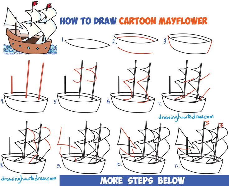 How to Draw Cartoon Mayflower for Thanksgiving Easy Step by Step Drawing Tutorial for Kids