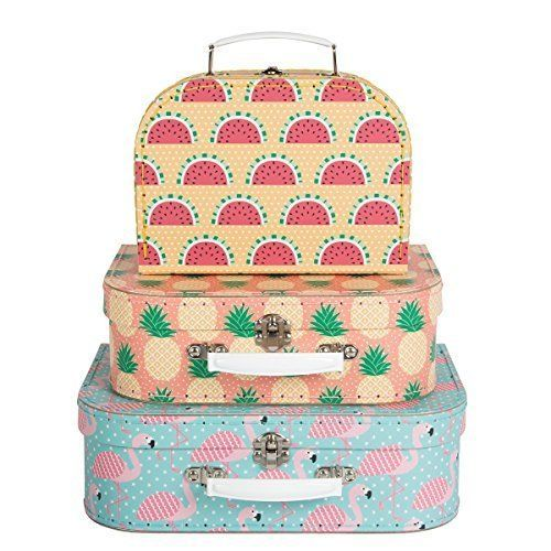 SET OF 3 PINK FLAMINGO TROPICAL SUITCASE STORAGE BOXES