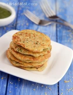 Spicy Oat Pancakes ( Low Cholesterol) recipe   Low Cholesterol Foods   by Tarla Dalal   Tarladalal.com   #5529