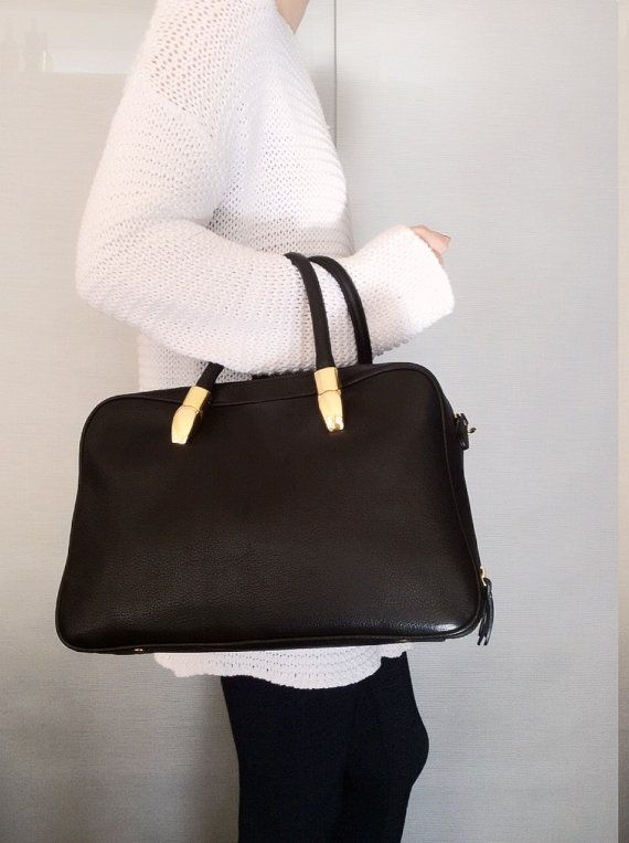 Black leather bag Leather briefcase Leather laptop by PomponiBags