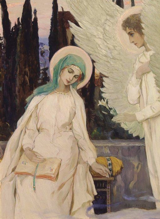 """And Mary said, Behold the handmaid of the Lord; be it unto me according to thy word.   Mikhail Nesterov """"Lady Day"""""""