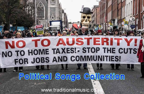 Political Songs Collection - Titles index page Political, Solidarity, Workers and Union Songs - 550+ lyrics with PDF for printing.