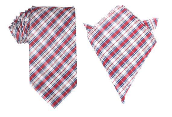 Matching Necktie  Pocket Square Combo Tango Maroon w/ Blue by OTAA, $43.95