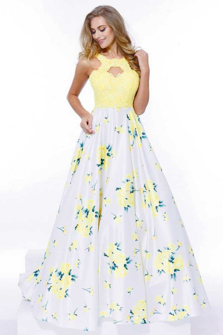 Yellow Floral Design Embellished Prom Dress.  https://www.smcfashion.com/wholesale-prom-dresses/prom-dress-nx8203