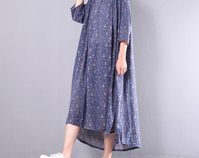 Vrouwen baggy jurk linnen jurk asymmetrisch tuniek jurk van katoen leisure jurk linnen kleding floral zomerjurk plus grootte kleding