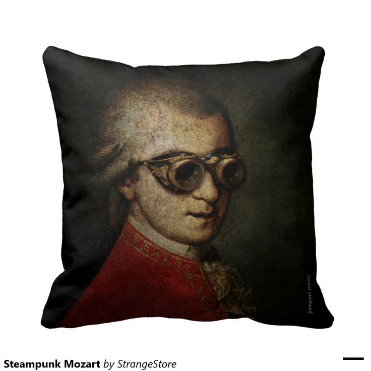 Steampunk Mozart Throw Pillows from #StrangeStore
