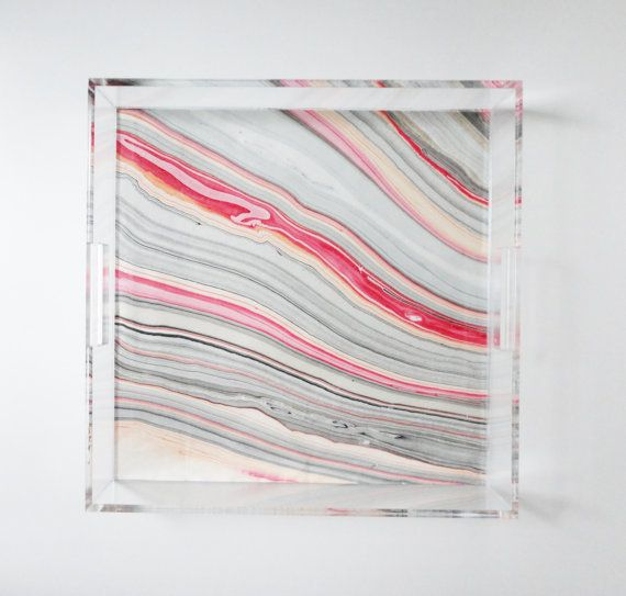 Marbled Lucite Tray with Handles Shown in 12 x x 12 x 2