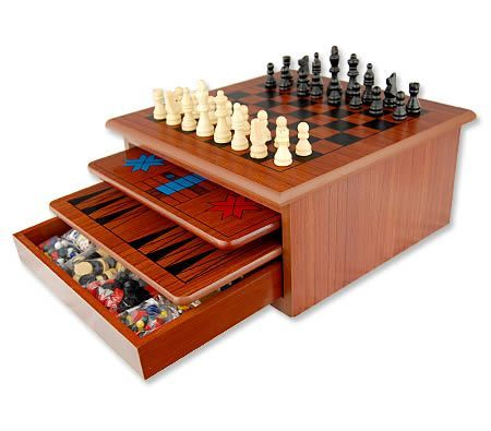 Christmas Gift Ideas - 10 in 1 Wooden Board Games House - Brown
