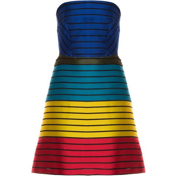 MARY KATRANTZOU Freesia Dress ($2,194) ❤ liked on Polyvore featuring dresses, blue evening dresses, holiday dresses, rainbow stripe dress, multi color dress and striped dress