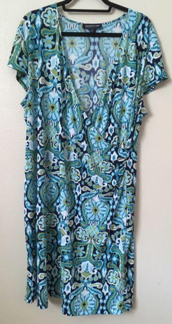 Jones New York Signature Women's Lime Teal Green Dress Plus Sz 3X Ikat Faux Wrap | eBay