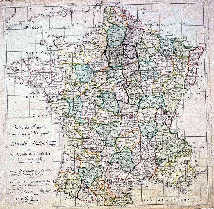 Carte de France à la révolution. Premier découpage de la France en départements