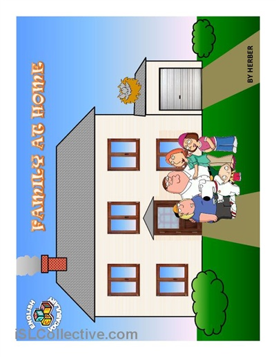 PPT comprising elementary activity on basic vocabulary for family members and rooms in a house.