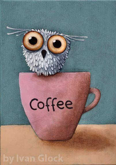 Coffee Owl , Owl Drawing, Cute owl, Owl cartoon, big eyes Owl