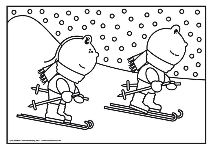 kleurplaat frokkie lola op de ski kleurplaten