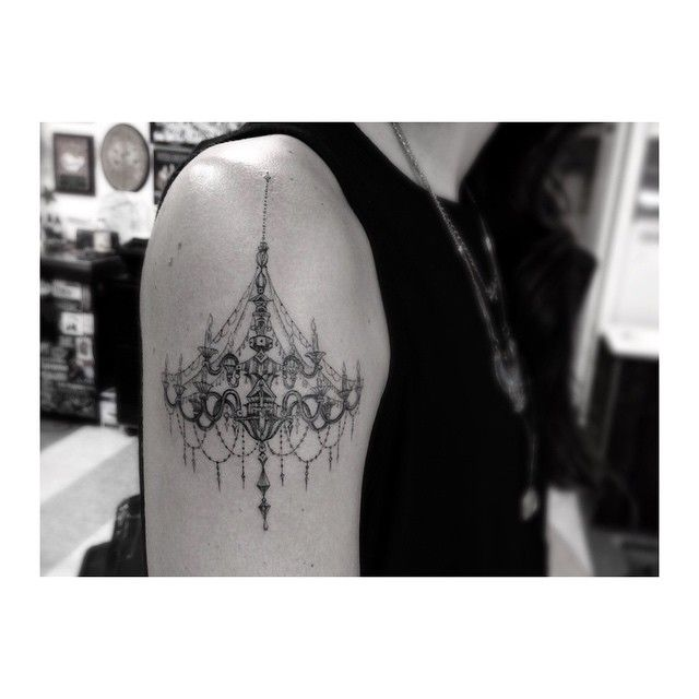 Chandelier Tattoo- delicacy of the line is perfect