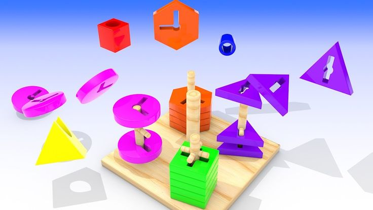 Learn Colors and Shapes for Children with 3D Wooden Toys for Kids and To...