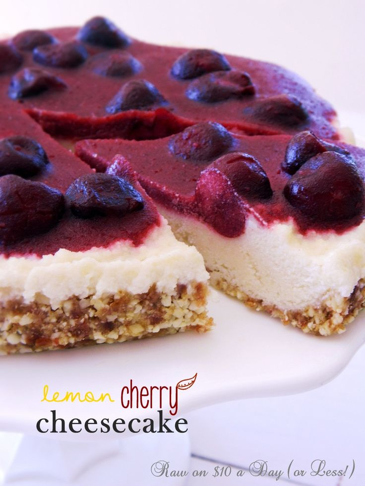 Raw on $ 10 a Day (or Less!): Lemon Cherry Cheesecake ~ a Raw Food Recipe!