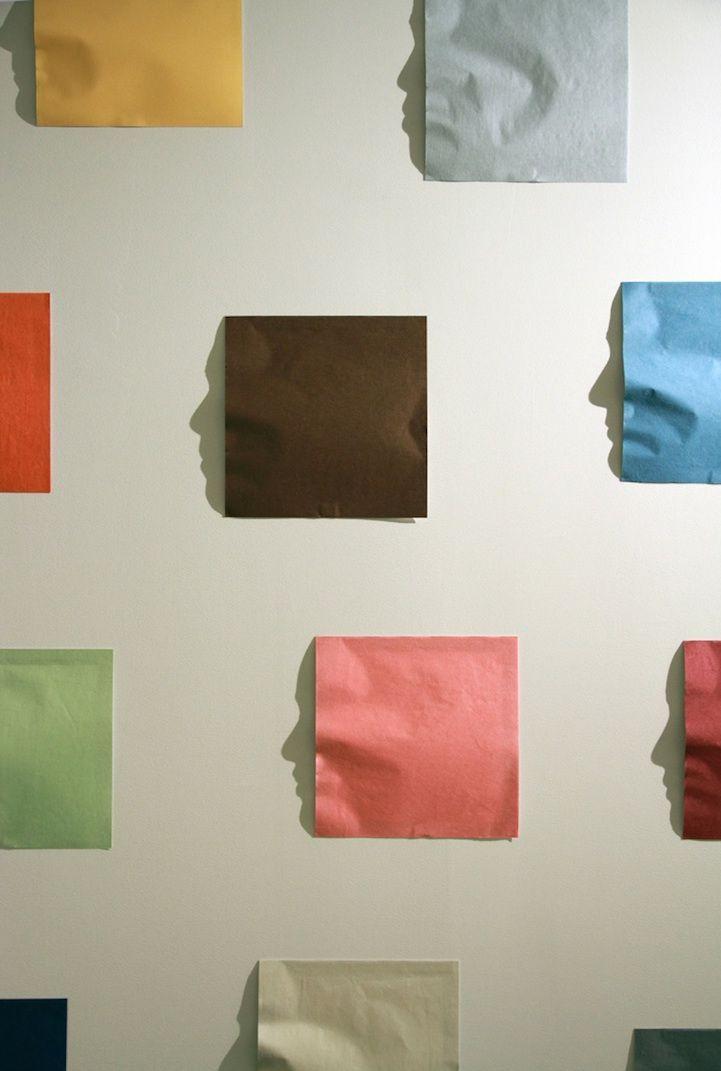 Kumi Yamashita - Origami. Creased Japanese paper, single light source, shadow, 366x366x1cm (2011)