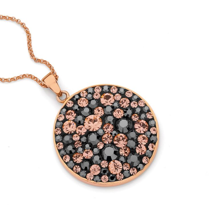 Sterling Silver Rush Rose Plate Midnight Star Round Pendant - Rush Collection - Silver