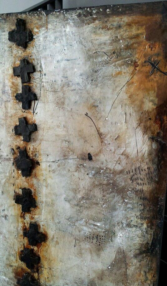 Wax, pigments on wood