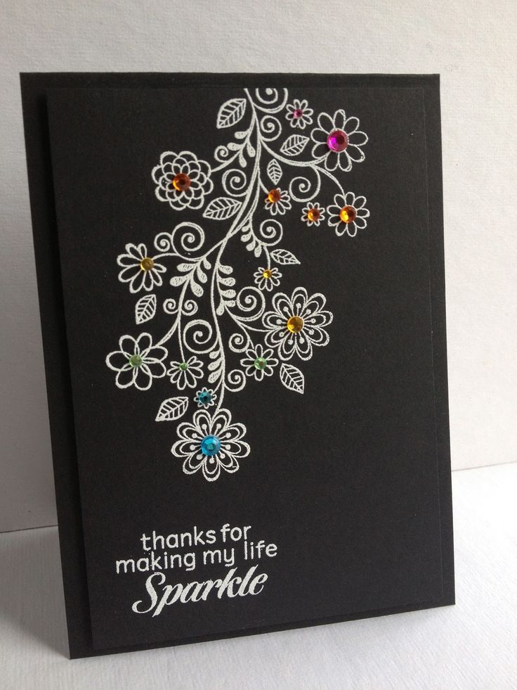 Am loving this stamp in white on black with gems! I'm in Haven: One Stamp Five Cards: