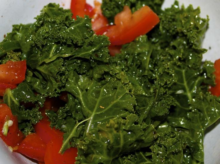 Kale & Tomato salad - dressing: apple cider vinegar, olive oil, sugar, salt, pepper, chopped serrano peper.  add chopped tomatos and mix. add kale. 12/12/2012