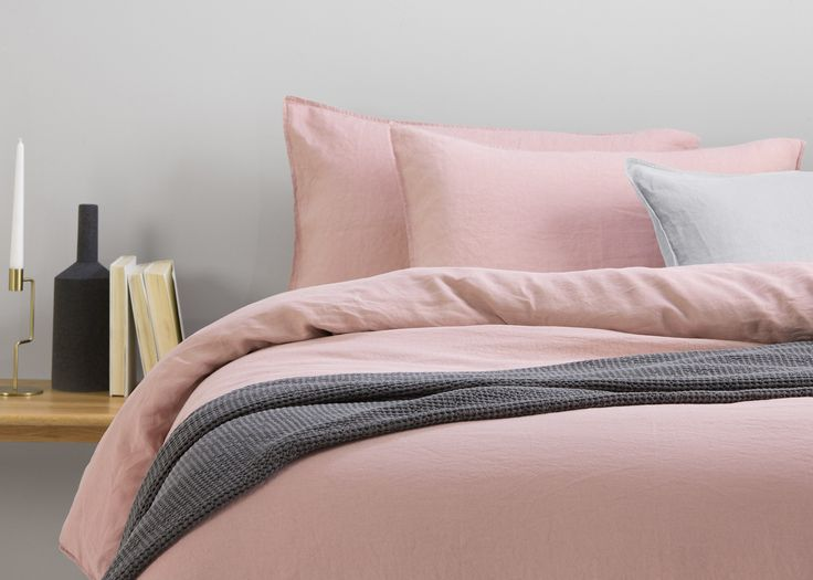 Brisa 100% Soft Washed Linen Bed Set, Dusky Pink | made.com