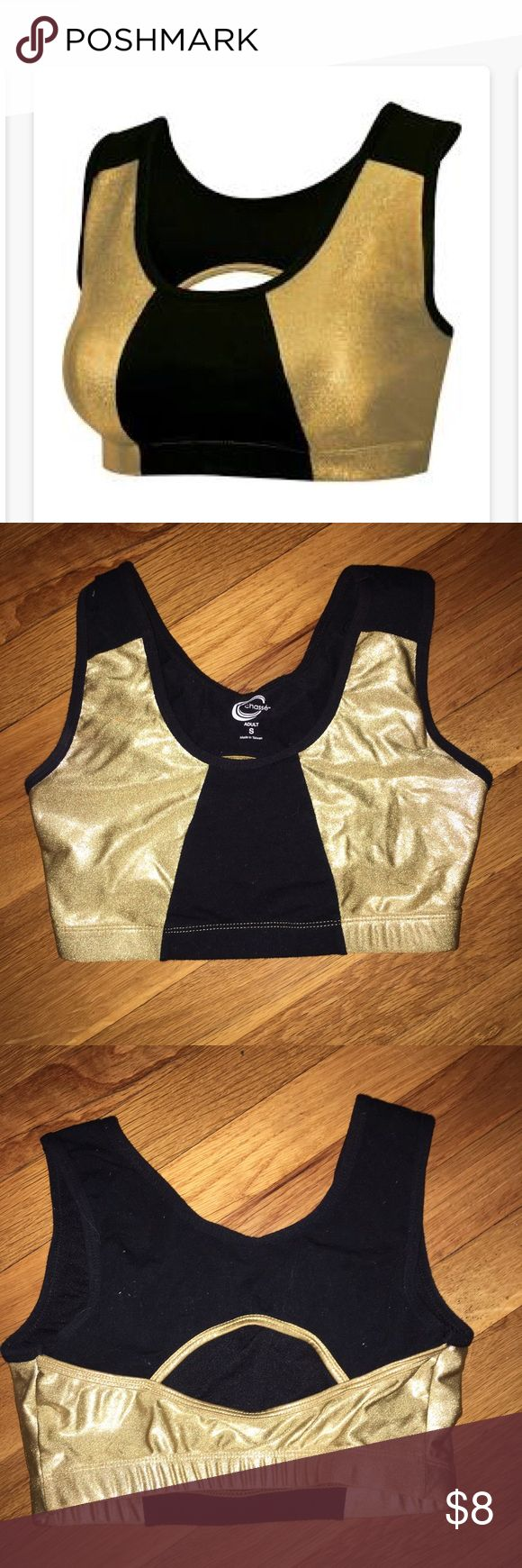 Black and gold sports bra🖤💛 Super soft and comfy sports bra that I've only worn once so it's essentially new! It's a size small.   Everyone make bids/offers! I'm trying to clear out my closet and everything has to go! If you don't like the price, make an offer 🤗 If you have any questions, please feel free to leave a comment down below!! 👇💓 Intimates & Sleepwear Bras