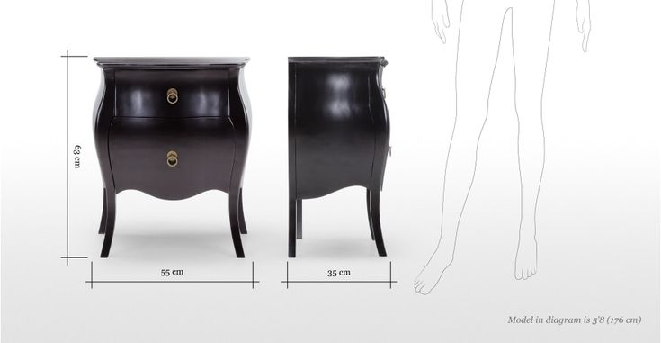 The Bourbon bedside table in black adds classic French style with a contemporary twist.