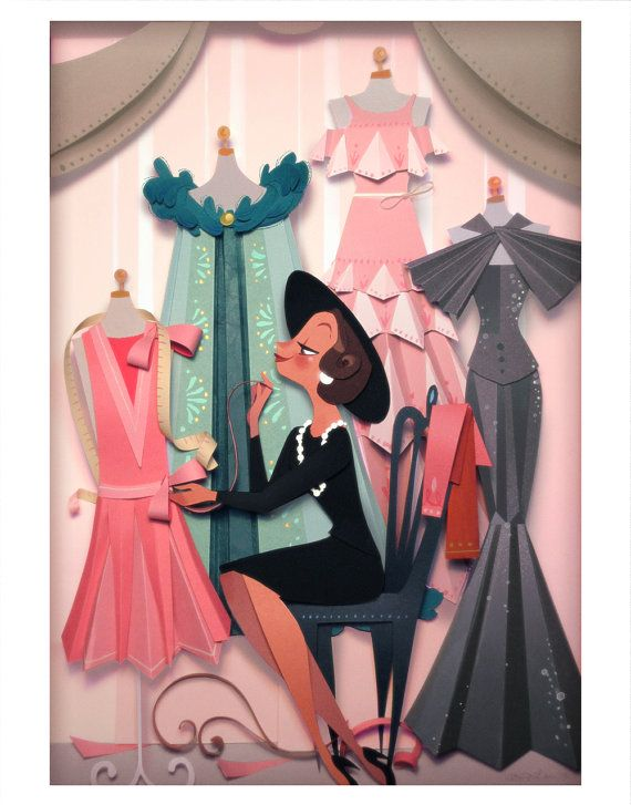 Coco Print by Brittney Lee. Loving this paper art of Coco Chanel (The Other Coco) working on her designs.