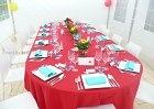 Communie  Moduletent 4x6m met ovalen tafelopstelling. Trix tuinstoel en rood/turkoois accenten.  Voor de organisatie van al uw feesten; www.xtrent.be