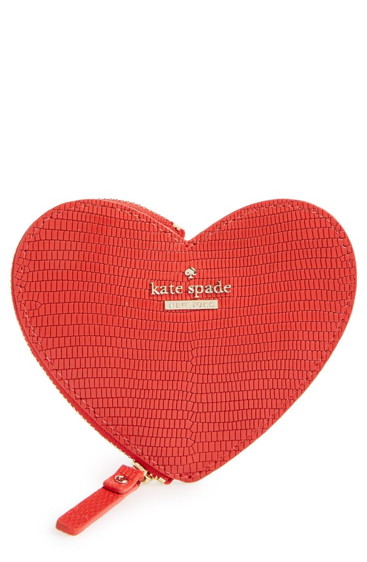 This Charming Heart Shaped Coin Purse By Kate Spade Is