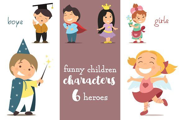 6 funny CHILDREN characters by Anna Khramova on @creativemarket