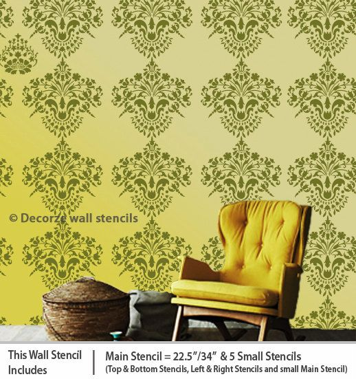 Damask reusable wall stencil design for wall