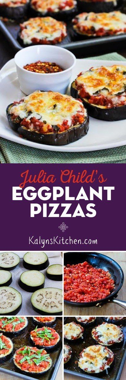 Julia Child's Eggplant Pizza is a recipe that's popular all year round on my blog. These delicious pizzas made on a base of roasted eggplant are delicious and they're low-carb, gluten-free, and meatless!