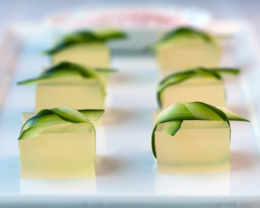 Cucumber-lime margarita shots tied with cucumber ribbons -
