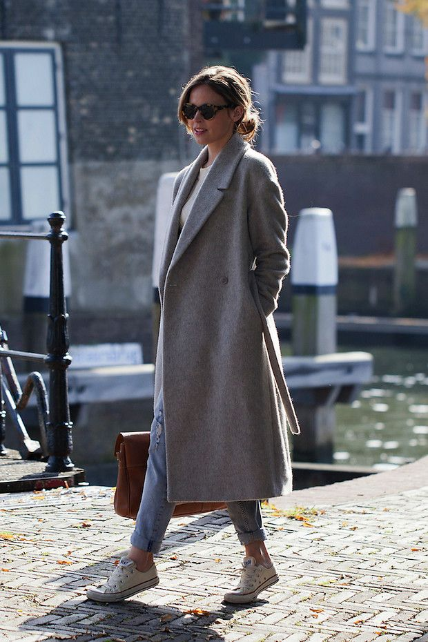 Christine R. - Karen Walker Sunglasses, Cos Coat, Converse Sneakers - A grey area | LOOKBOOK