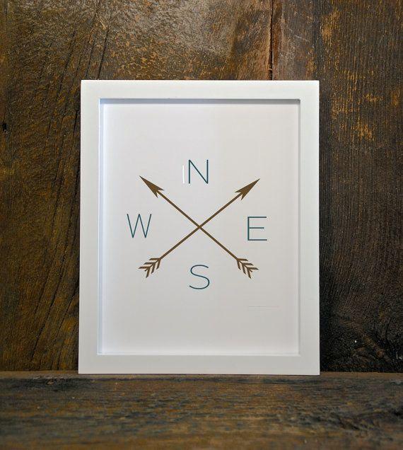 NESW ARROWS compass tribal woodland nursery by MountainViewPrints